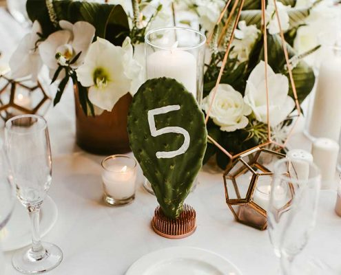 Desert Tropical Fusion Wedding Guest Table Setting