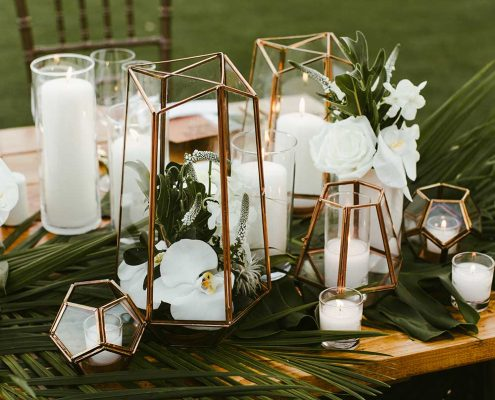 Desert Tropical Fusion Wedding Table Arrangement