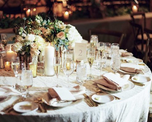 Warm Winter Wedding Table Detail