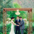 Gold Round Crystal Chandelier at Green & Gold Wedding
