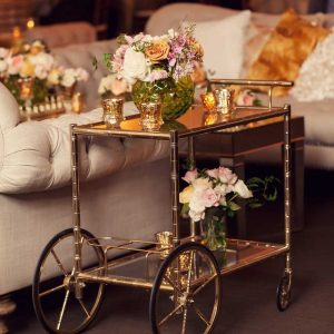 Gold Bar Cart in Green & Gold Wedding