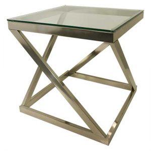 Chrome Glass End Table