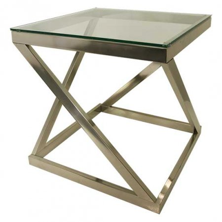 Chrome Glass End Table