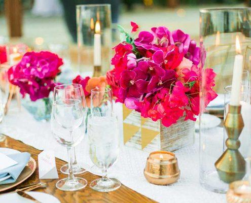 Fuchsia Geometric Wedding Reception Table