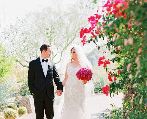 Fuchsia Geometric Wedding Bride & Groom