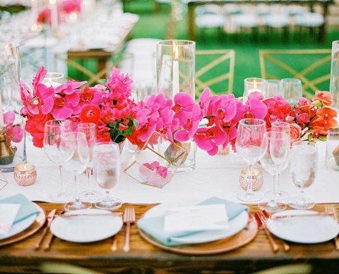 Fuchsia Geometric Wedding Reception