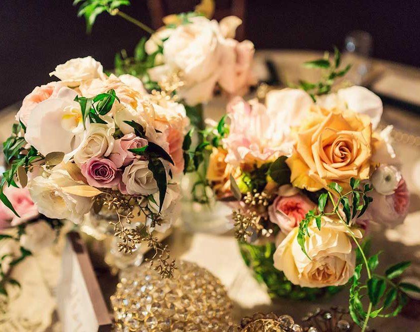 Green and Gold Wedding Flower Design