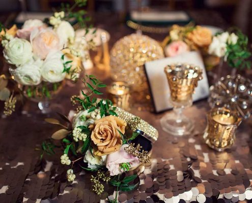 Green and Gold Wedding Design Detail