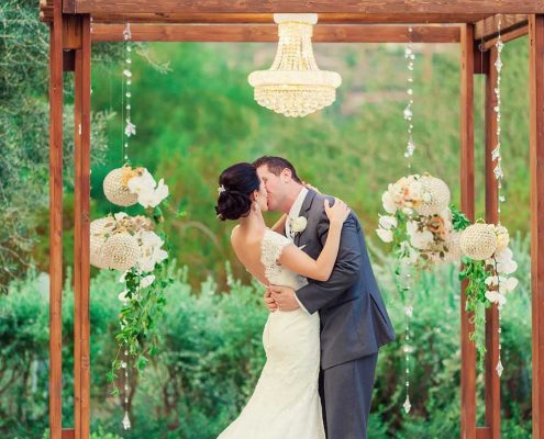 Green and Gold Wedding Ceremony