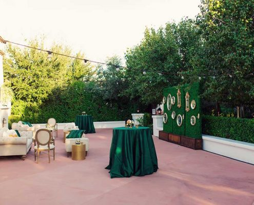 Green and Gold Wedding Reception
