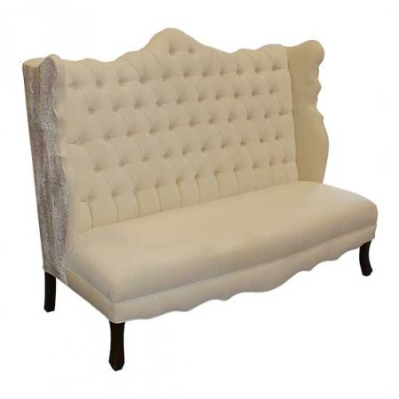 Ivory Velvet Love Seat
