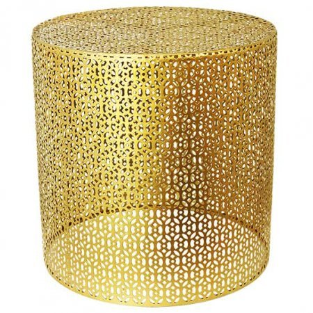Large Gold Basket End Table