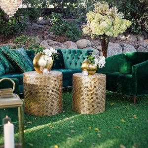 Large Gold Basket End Table at Event