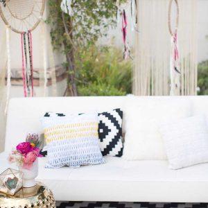 Black White Geometric Pillow
