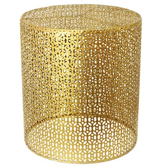 Small Gold Basket End Table