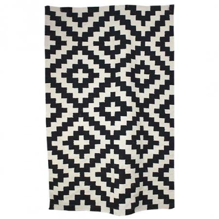 Black White Geometric Rug