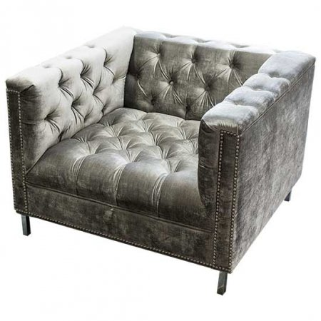 Gray Tufted Hollywood Chair