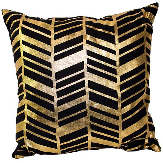 Gold Black Herringbone Pillow