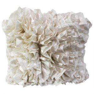 White Ruffle Pillow