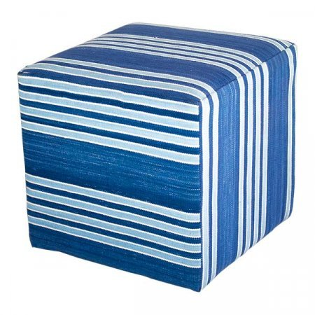 Blue Striped Ottoman