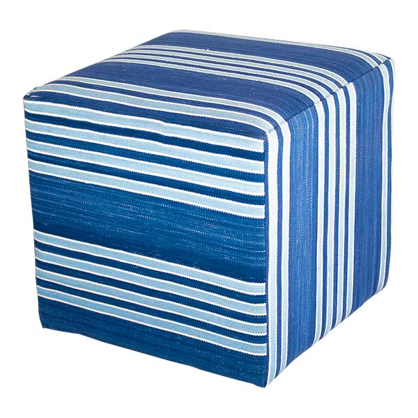 Blue Striped Ottoman