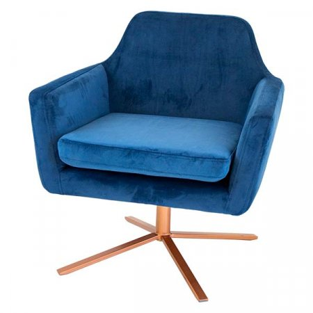 Blue Suede Copper Chair