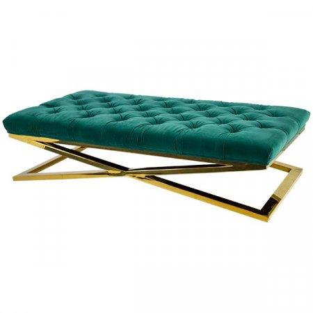 Emerald Velvet Tufted Bench