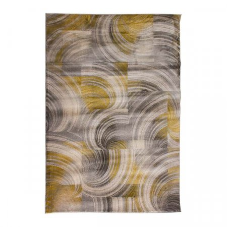 Gray Yellow Swirl Rug