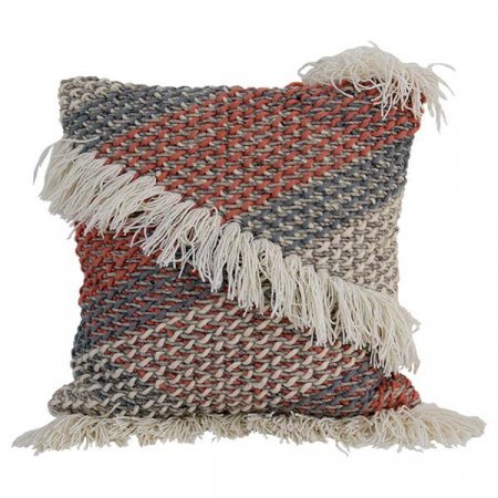 Red Blue Fringe Pillow