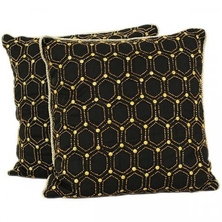 Gold & Black Beaded Pillows