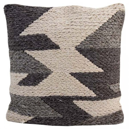 Gray Cream Knitted Pillow