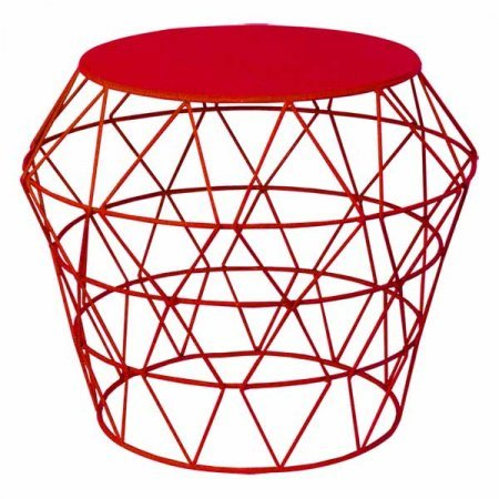 Wire Basket Table Red