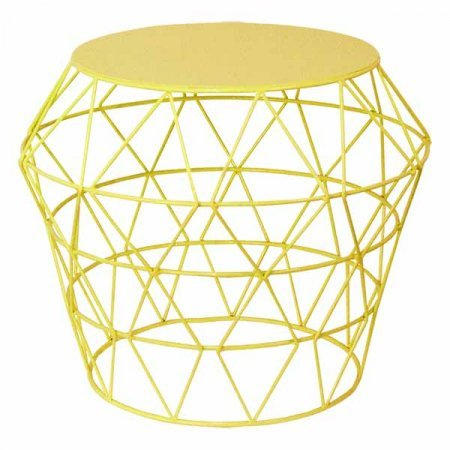 Wire Basket Table Yellow