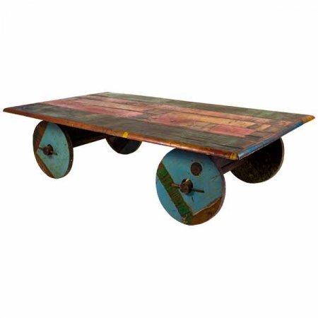 Wood Cart Coffee Table
