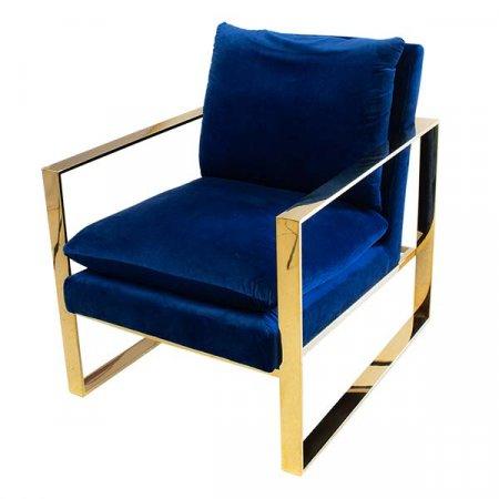 Blue Gold Velvet Chair