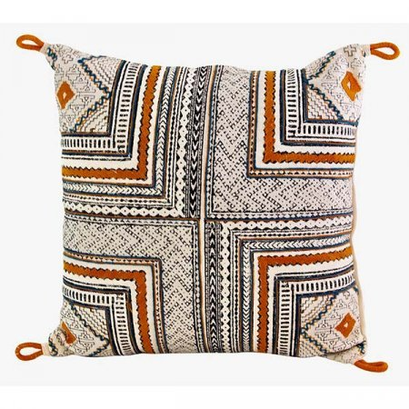Inspired Environments Orange and Blue Block Print Pillow