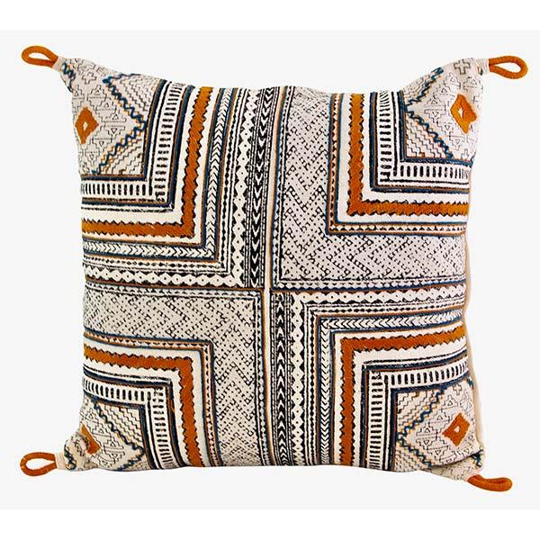 Orange And Blue Block Print Pillow