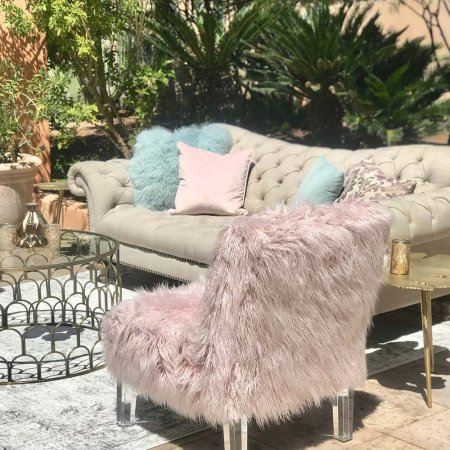 Inspired Environments Pink Shaggy Chair