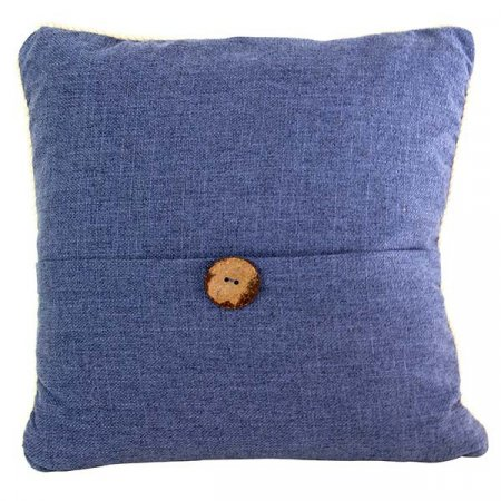 Inspired Environments Wood Button Accented Denim Pillow