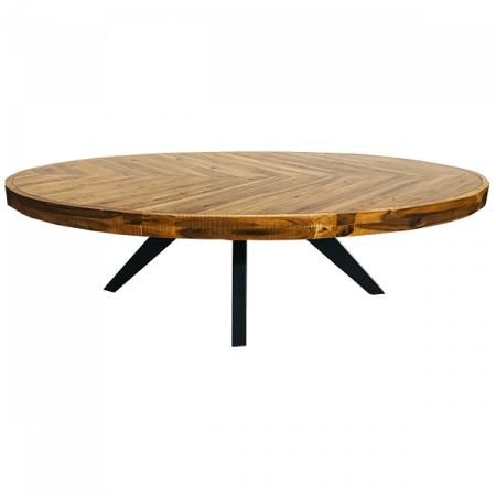 Inspired Environments Chevron Wood Oval Coffee Table