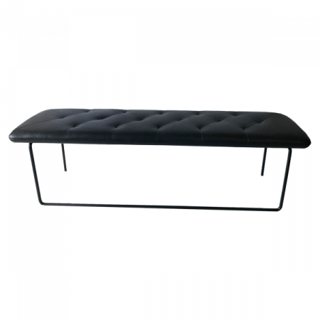Inspired Environments Black Leather Bench Front