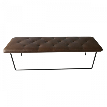 Inspired Environments Brown Leather Bench Front