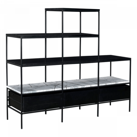 Inspired Environments Marble and Black Display Shelf