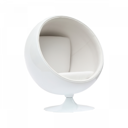 Inspired Environments White Leatherette Ball Chair
